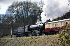 90733 leaving Highley 21st March 2015 (davids pix) Tags: 1931 war railway swedish steam sj locomotive vulcan preserved wd 280 2015 austerity highley wardepartment 79257 90733 21032015