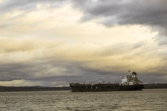 barge under cloudy sky (Amy ::) Tags: clouds hudsonriver shipping barge stormyweather
