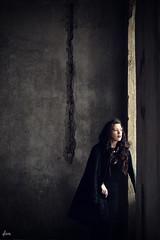 haunted (dionn-k) Tags: black castle abandoned ruins longhair indoor haunted redlips brunette blackdress artisticphotography fashionportraiture