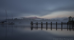 30 second exposure as the sun hits the hills by the jetty (SarahO44) Tags: uk england mist lake speed sunrise canon boat big long exposure slow unitedkingdom district jetty united kingdom lee cumbria shutter yachts ambleside windermere stopper 6d leebigstopper