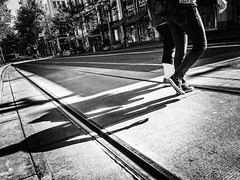 Steps And Shadows (TMimages PDX) Tags: road street city people urban blackandwhite monochrome buildings portland geotagged photography photo image streetphotography streetscene sidewalk photograph pedestrians pacificnorthwest avenue vignette fineartphotography iphoneography