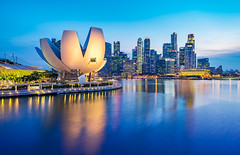 _MG_5541_web - ArtScience Museum and Marina Bay skyline, Singapore (AlexDROP) Tags: city travel light urban colour water skyline architecture singapore postcard famous best bluehour scape picturesque iconic hdr mustsee 2015 canon6d ef16354lis