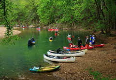 Canoeists on Buffalo River - Downstream from Steel Creek Campground, Northwest Arkansas (danjdavis) Tags: canoes arkansas canoeing canoeists buffalonationalriver buffaloriver steelcreekcampground