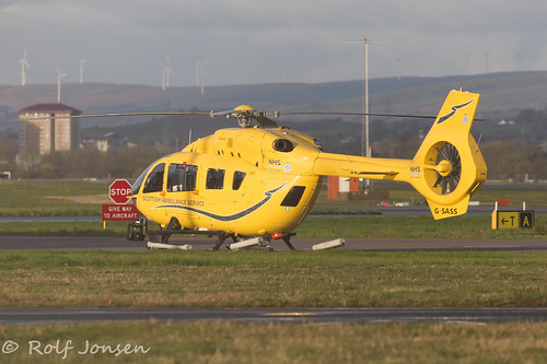 G-SASS Airbus Helicopters EC145 Scottish Ambulance Service Glasgow airport EGPF 07.04-16