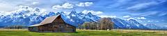 Teton Barn Pano sm (Arby's) Tags: panorama snow mountains clouds barn spring farm pano jackson wyoming grandtetons tetons