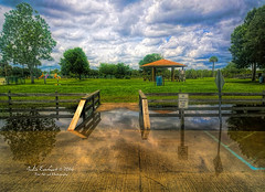 Wheelchair Ramp (75 julev69  1,850,000+ Views- THANK YO) Tags: park trees nature rain clouds reflections landscape clarity bluesky flooded greengrass wheelchairramp publicplace jeverhart julev69 julieeverhart