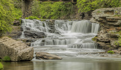 Tanners Falls (William_Doyle) Tags: bridge trees green nature water creek photoshop river waterfall rocks stream cloudy brook honesdalepa topazdenoise tannersfalls topazclarity may2016