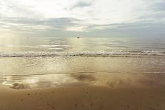 Golden Beach (Bartholomew K Poonsiri) Tags: ocean morning sea sky seascape beach water thailand gold dawn seaside sand outdoor wave wideangle seashore chaam sonyepz1650mmf3556oss sonyilce6000
