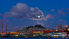 The moon (davidyuweb) Tags: moon tower clouds san francisco formation coit sfist the luckysnapshot gowarriors