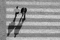 Prague Crossing (alancookson) Tags: bw crossing prague pedestrian wenceslassquare cobbles fujixt1220416prague