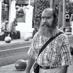 Street 141 (`ARroWCoLT) Tags: street old people blackandwhite bw white man art monochrome smile car shirt canon walking photography 50mm blackwhite dof open dress market bokeh parking oldman istanbul wear depthoffield clothes human bazaar cloth f18 mont seller insan sokak kadky pazar angrylook 700d arrowcolt