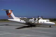 G-BOAX-1-EGJJ-JUN1989 (Alpha Mike Aviation Photography) Tags: jer jersey londoncity dash7 dhc7 dehavillandcanada egjj londoncityairways gboax