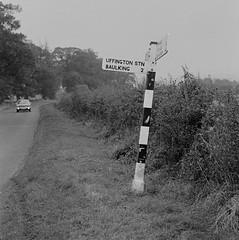 Uffington station (6), 1979 (Blue-pelican-railway) Tags: station closed railway signpost berkshire uffington beeching