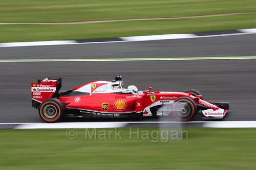 Sebastian Vettel in his Ferrari in Free Practice 1 at the 2016 British Grand Prix