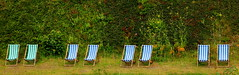 No Takers ............ (acwills2014) Tags: abstract river stripes relaxation riverbank deckchairs lynmouth