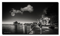 Sophie in Sydney (All types of Photography by CJC) Tags: portrait blackandwhite bw art dance jumping dancing sydney dancer sharing therocks operahouse sydneyoperahouse bwportrait sydneycity blackandwhiteportrait sydneytherocks