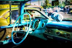 Steer You Right (Celine Chamberlin) Tags: chevrolet belair car oregon chevy vehicle dashboard colorblue carshow steeringwheel fuzzydice babyblue stayton stroswednesdaynitecruisein