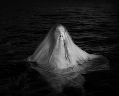 Coming Up For Air (Maren Klemp) Tags: fineartphotography fineartphotographer darkart darkartphotography blackandwhite monochrome water woman selfportrait swimming veil symbolic lake ocean dark nostalgic vintage symblic ethereal painterly texture fineart breathing portrait nature outdoors