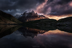 Beyond The Dying Light (outofinsight) Tags: patagonia torresdelpaine reflection mountain sunrise mood trek camping travel landscape clouds