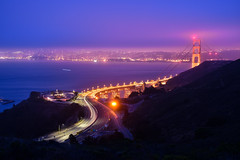 Morning Haze (tarczyn) Tags: san francisco sanfrancisco california usa bay goldengatebridge longexposure nikon d5500 nightphotography lighttrails sunrise landscape ocean summer bayarea blue red pink purple water ca light nature marinheadlands pacificocean fog haze architecture