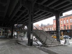 High Line Snow Covered Railroad Overpass Tracks to Nowhere 8557 (Brechtbug) Tags: road park street new york city nyc railroad winter urban snow streets west art architecture garden way design march high downtown gallery path walk manhattan district balcony packing side nowhere tracks overpass rail pedestrian mini el meat line midtown covered mezzanine transportation boardwalk former elevated blizzard derelict reclamation highline skyway redesign the remodeled 2015 03072015