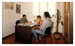 1985 - Sede di Publimedia in via Carducci con Nevio Ronconi, Carlo Serafini e Piccinino Raffaella