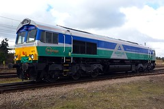 66711 Peterborough 25.03.15 (jonf45 - 5 million views -Thank you) Tags: br diesel rail railway trains 66 class gb british locomotive peterborough industries aggregates railfreight gbrf 66711