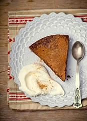 chocolate truffle pie. (Zoryanchik) Tags: food brown white cake dark pie dessert sweet chocolate background cream almond plate sugar delicious slice bakery piece