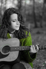Laura and her guitar (digitalctzn) Tags: trees color tree green forest lens log woods stream glare guitar pop magical colourpop lensglare wunderlust colorpop