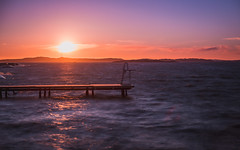 Sunset (Arvid Bjrkqvist) Tags: longexposure bridge sunset sea orange sun purple sweden calm shore ladder silky solnedgng lilleby divingtower nd110 canon6d