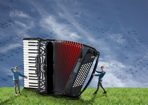 Accordion playing twin-dwarfs