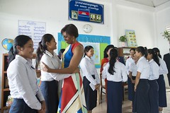 (USEmbassyPhnomPenh) Tags: school girls students lady high cambodia room michelle first visit read program siem reap mrs obama let bun hun learn sen initiative rany bakorng
