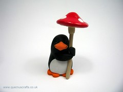 Little Toadstool Penguin (QuernusCrafts) Tags: cute penguin penguins polymerclay toadstool quernuscrafts