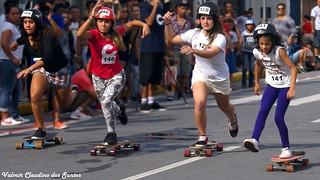 Skateboard race. Run girls, run! - take 2