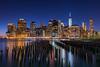 NYC Skyline (BSwope) Tags: city nyc newyorkcity longexposure ny newyork reflection skyline brooklyn night sticks nikon manhattan d750 brooklynbridgepark 1835mm