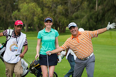 Florentyna Parker of England and her team during the Pro-Am (Ladies European Tour) Tags: morocco mor rabat parkerflorentynaeng