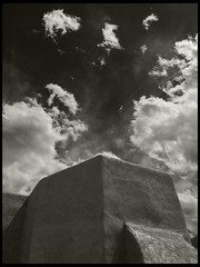 San Francisco de Asis #5: Ranchos de Taos, New Mexico (hamsiksa) Tags: sky newmexico church clouds blackwhite catholic adobe anseladams georgiaokeefe buttress ranchosdetaos apse sanfranciscodeasis