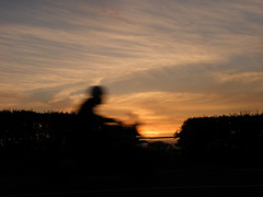 speeding (rospix+) Tags: road uk sunset sky motion silhouette wales clouds movement may motorbike hedge 2016 rospix