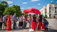 Queue up for the Red (DeSjönIs) Tags: leica travel europe dof bokeh coke bluesky bulgaria cocacola plovdiv leicam републикабългария republikabǎlgarija