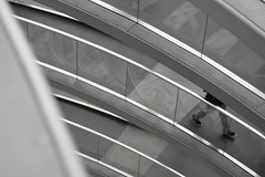 Going in Circles (mariacamussi) Tags: city travel urban blackandwhite bw white abstract black berlin tourism architecture modern composition contrast germany deutschland 50mm cool movement arquitectura europe mood moody cityscape legs landmark minimal diagonal reichstag human staircase alemania serene minimalism element fragment canon7d