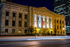State Government and the Speed of Light (brianlrodgers) Tags: street longexposure columbus ohio building architecture night lights downtown doors outdoor flags government ohiostatehouse