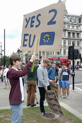 """Remain Euro"" protestant at Parliament Square (Kotomi_) Tags: brexit antibrexit protesters protestant rally remainineuro london londoners parliamentsquare"