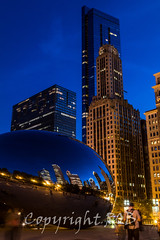 Chicago-2091.jpg (CitizenOfSeoul) Tags: city blue usa chicago night downtown indiana northamerica cloudgate mirroring
