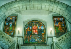 Cincinnati  Ohio ~ Historic City Hall ~ Interior (Onasill ~ Bill Badzo) Tags: county old light ohio italy tower clock glass stain architecture vintage photo mural downtown tn cityhall tennessee interior cincinnati style grand ceiling historic staircase granite oh marble tours romanesque fixture brownstone richardsonian nrhp onasill attractionsite