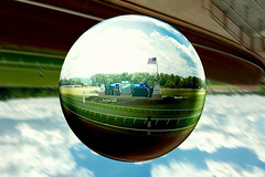 """Crystal Ball"" camera effect at Beltera Track (mrgraphic2) Tags: horse track cincinnati racing crystalball iphone beltera"