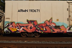 MIGEE (TheGraffitiHunters) Tags: street pink blue red white black art car train graffiti colorful paint purple tracks spray boxcar graff refrigerator freight reefer benched benching migee