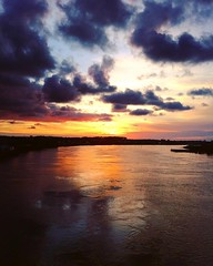 Bayonne (mrjcrr) Tags: bridge sunset sky sun france water colors architecture clouds landscape fire soleil eau view horizon reflet ciel pont nuages paysage vue bayonne feu paysbasque sudouest batiments