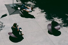 Coffee and a good read in Spun Chairs. (redshutterbugg) Tags: people art love losangeles streetphotography fujifilm lastory 500px discoverla fujifilmxworld fujifilmxseries