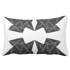 """""""Tri-Burst"""" - Black & White Lumbar Pillow (CMY-KEY) Tags: home graphicdesign bedroom homedecor bedding patterndesign chicagopattern cameronprather chicagodecor"""