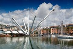 genova (heavenuphere) Tags: genova genua genoa liguria italia italy europe city porto antico old port harbour boat yacht il bigo panoramic lift 24105mm